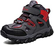 Dannto Kids Hiking Snow Boots Boys Girls Winter Fur WarmSneakers Outdoor Walking Antiskid Shoes with Steel Buc