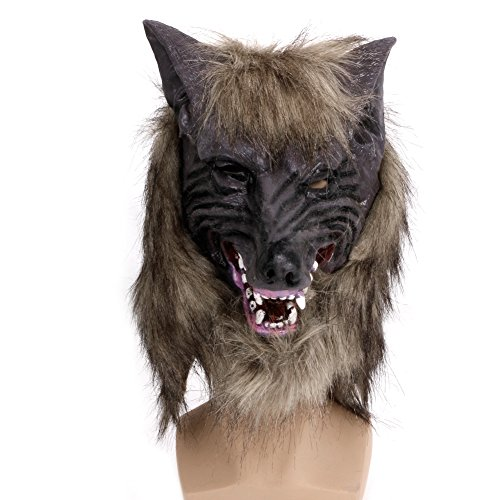 Scary Big Bad Wolf Costumes (Wrisky Halloween Latex Animal Wolf Head With Hair Mask Fancy Dress Costume Party Scary)