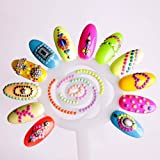 Amazing Value Set of 2000 Glowing In The Dark Neon Studs 3D Nail Art Decorations in 6 Colours And 2 Shapes By VAGA