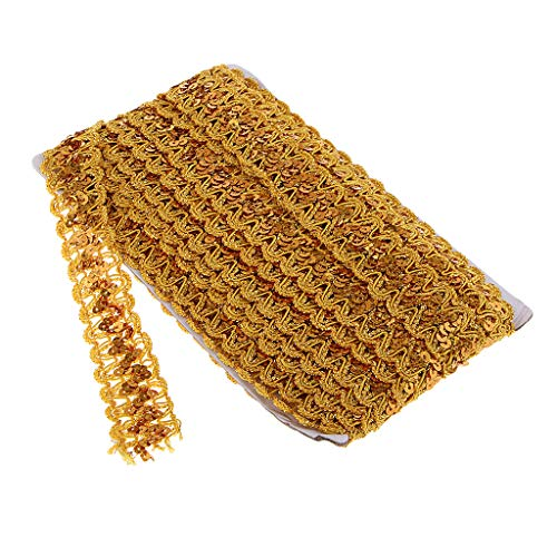 SM SunniMix Swirl Sequins Trim Paillette Spangle Lace Braid String Ribbon Roll Embroidered Embellishments, 14 Yards - Gold