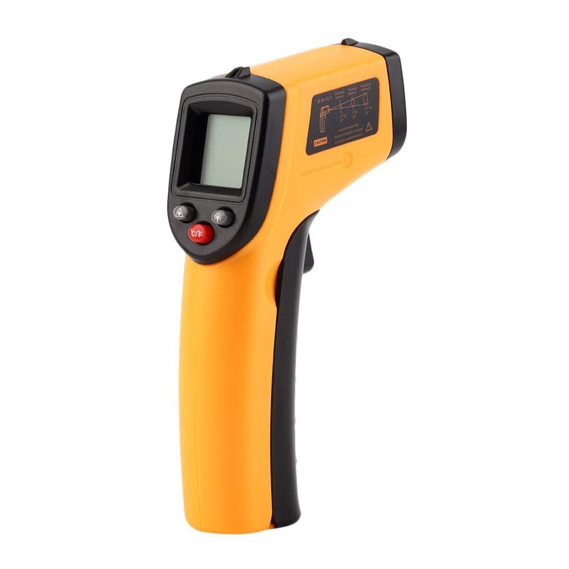 Color:Orange Pantalla LCD sin contacto L/áser IR Medidor de temperatura digital por infrarrojos Sensor Term/ómetro Punta de pistola con funci/ón de retenci/ón de datos Kaemma