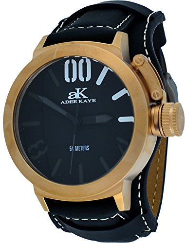 Adee Kaye #AK7285-RG/BK Men's Rose Gold Tone Canteen Crown Protector Leather Band Watch