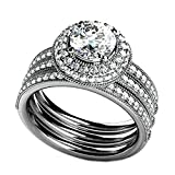 925 Sterling Silver Women Engagement Ring Wedding Band Cubic Zirconia Three Layers Size 8