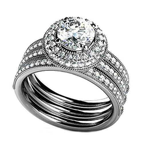 925 Sterling Silver Women Engagement Ring Wedding Band Cubic Zirconia Three Layers Size 8 by Epinki