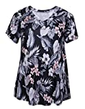 ZERDOCEAN Women's Plus Size Printed Stretchy Short Sleeve V Neck Swing T Shirt 808 1X