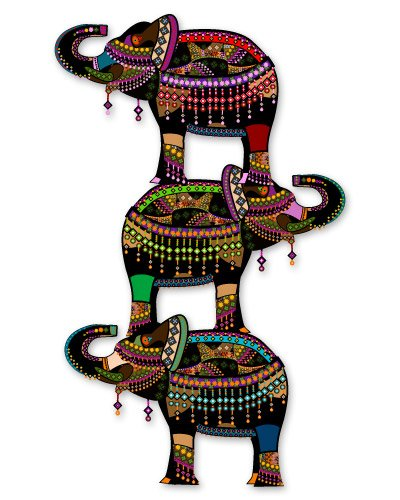 Elephants Exotic Tribal Design Sticker