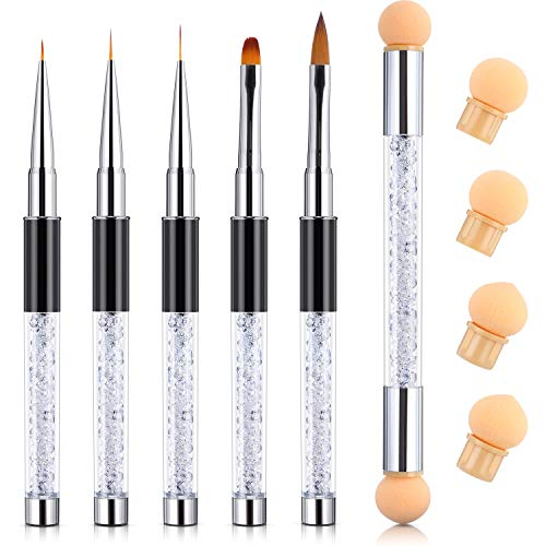 - TOODOO 5 Pieces Acrylic Nail Brush UV Gel Nail Brush Pen Set and 1 Piece Double-ended Nail Gradient Shading Pen with 4 Sponge Heads (Style 2)