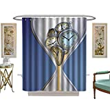 luvoluxhome Shower Curtains Fabric Extra Long House Clock by Hourglass Time Clocks with Sand ations for HomeA Vintage Design Blue and Sand Brown W69 x L84 Bathroom Set with Hooks