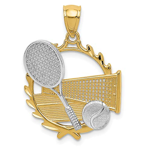 14k Two-Tone Yellow Gold Tennis Racquet Ball Net And Court In Round Pendant 27x21mm