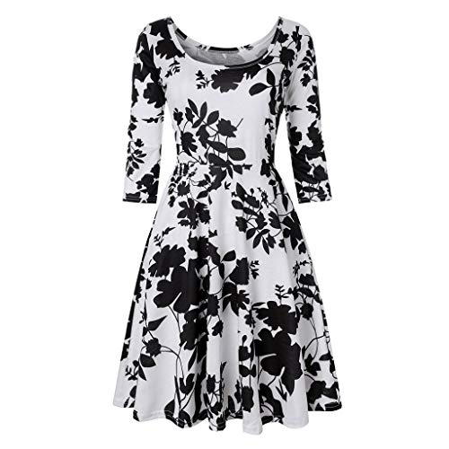 Floral A Line Dresses for Women, QIQIU Casual Three Quarter Sleeve Knee Length Party Evening Dress Black - Rose Bow Pink Dress Eyelet
