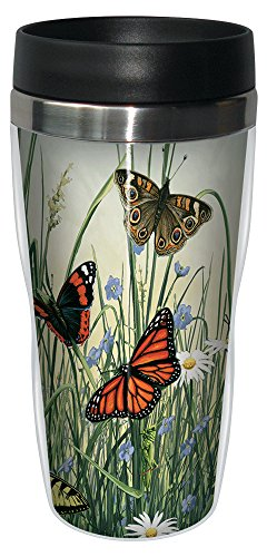 (Tree-Free Greetings 77024 Butterfly Meadow by James Hautman Vintage Art Sip 'N Go Travel tumbler, 16-Ounce, Stainless Steel, Multicolored)