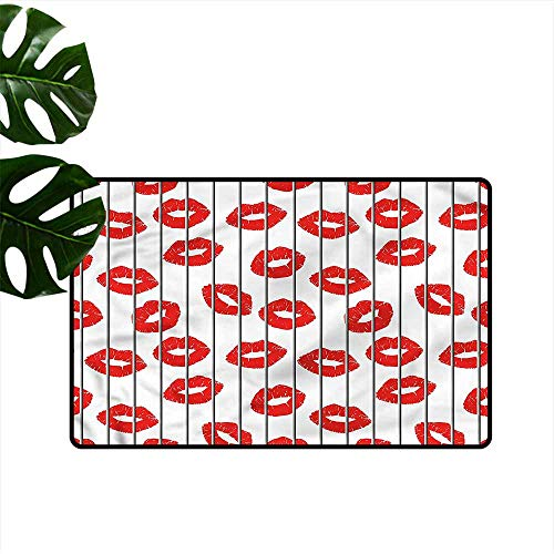 """HOMEDD Crystal Velvet Doormat,Glamour Sexy Woman Lips Love,with No-Slip Backing,35""""x24"""""""