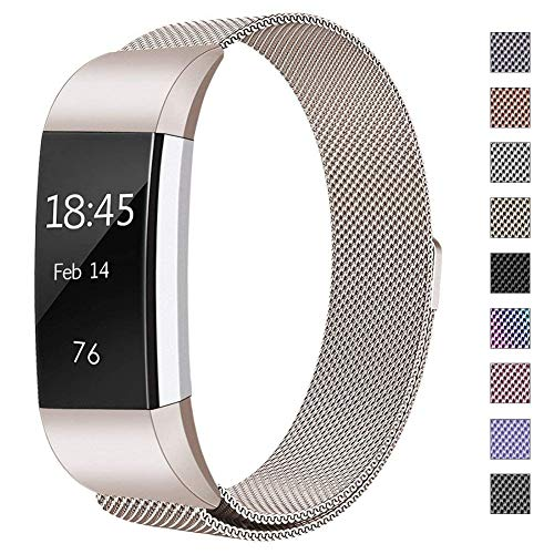 hooroor Replacement for Fitbit Charge 2 Bands Women Men, Milanese Loop Stainless Steel Metal Sport Replacement Bracelet Wristbands Strap Magnet Lock Fit bit Charge2 Fitness Tracker (Champagne, Large)