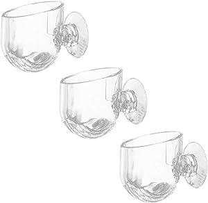 YOU+ 3PCS Aquatic Red Worm Cups, Water Planter Pots with 6 Suction Cups, Aquarium Magnifying Glass Shelf, Plant Holder for Live Fish Tank & Fresh Water Aquascape Ornament Plants Aquarium