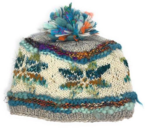 Green Fleece Hat (Hand Knit Womens Wool Pom Pom Hat Warm Fleece Lined Nepal Turquoise (Green))