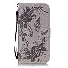 iPhone 7 Plus case,7s Plus case,[Wallet Stand] embossing PU Leather Wallet Flip Protective Case with Card Slots and Wrist Strap for iPhone 7 Plus Case(grey)