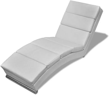 Festnight Chaise longue Blanco Tumbonas Sofás 154 x 52.5 x 72cm