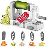 Gourmia GSS9615 Foldable Manual Spiralizer Vegetable Mandolin Slicer - 5 Stainless Steel Blades