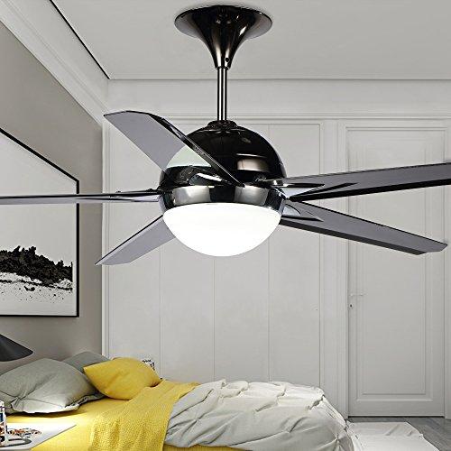 RainierLight Modern Black Ceiling Fan Lamp 5 Reversible Blades Remote Control Led Light Chandelier for Indoor Mute Energy Saving 48 Inch by RainierLight (Image #4)