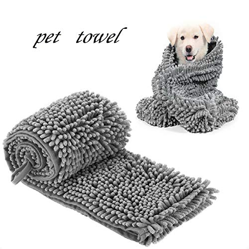 HI NINGER Pet Towel, Dog Towel with Triangle Hand Pockets, Soft Super Absorbent and Quick Drying Chenille Fabric Machine Washable for Dog Cat Bath Towel