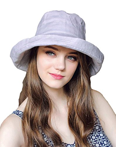 CACUSS Women's UPF 50+ Foldable Linen/Cotton Hat Big Brim with Big Bowknot and Inner - Brim Bucket Large