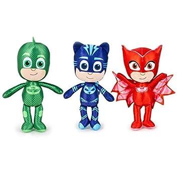 PJ MASKS Set of 3 Plush Soft Toys Catboy, Owlette & Gekko