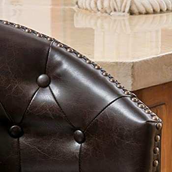 Great Deal Furniture Westman | Faux Leather Swivel Barstool with Studded Accents | in Brown