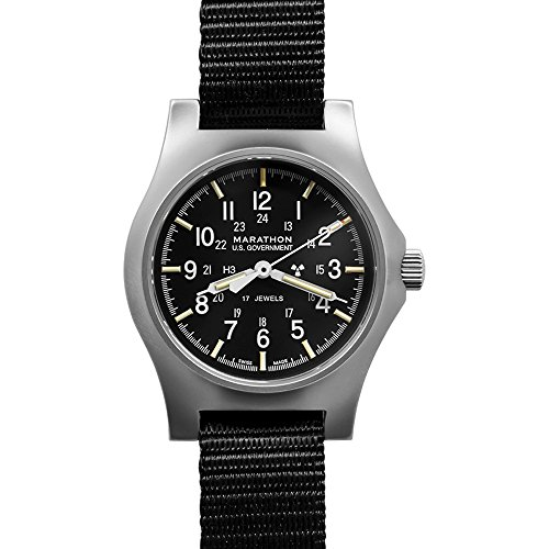 Marathon Watch WW194003SS General Purpose Mechanical Swiss Made Military Issue Field Watch (GPM) ETA 2801 Movement, Tritium and Sapphire Glass (39mm Case to Crown, Stainless Steel, US Government)