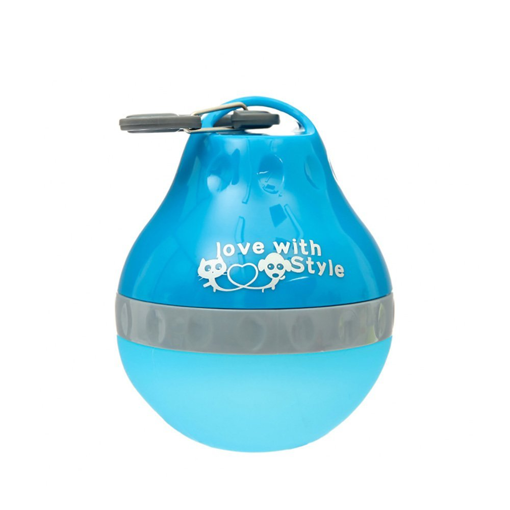 Pet Bottle, PYRUS Portable Silicone Folding Pets Bowl Travel Pet Canteen Outdoor Collapsing Water Feeding Kettle with Carabiner Clip for Dogs Cats 200 ML (Blue)