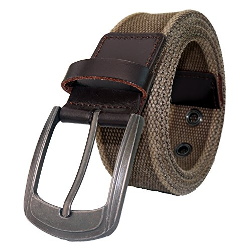 Men's Military Water-Washed Canvas Waist Web Belt Leather Tipped End and Silver Metal Buckle (X-Large(42-44), (Silver Metal Buckle)