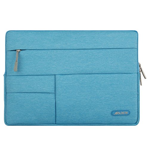 MOSISO Laptop Sleeve Bag Compatible 13-13.3 Inch MacBook Pro, MacBook Air, Notebook Computer, Spill-Resistant Polyester Multifunctional Accessory Storage Carrying Case Cover, Sky Blue