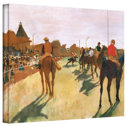 ArtWall 'The Parade or Race Horses in Front of The Stands' Gallery-Wrapped Canvas Artwork by Edgar Degas, 24 by 32-Inch by ArtWall