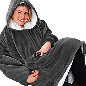 BeKing Huggle Hoodie – Ultra Plush Couverture Sweat à Capuche Hiver Chaud Peignoir Réversible Sweatshirt Unisexe [Taille…