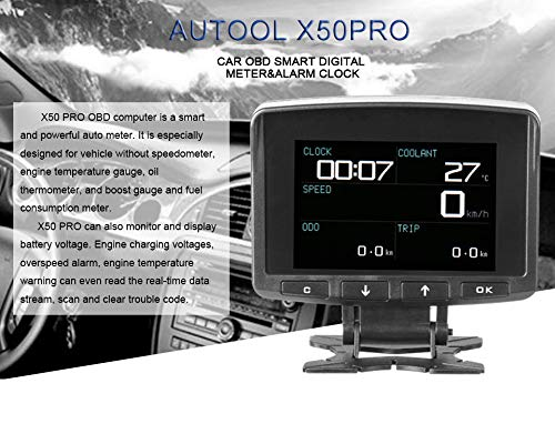 AUTOOL X50 PRO Multi-Function Car OBD Smart Digital Meter & Alarm Fault Code Water Temperature Gauge Digital Voltage Speed Meter Display Support 12V OBDII Diesel Vehicles (X50 PRO) by AUTOOL (Image #9)