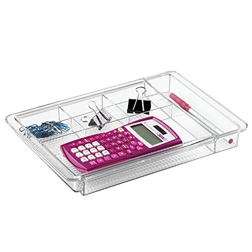 mDesign Expandable Office Supplies Desk Drawer Organizer for Pens, Highlighters, Paper Clips, Sticky Notes - Clear