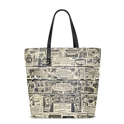 Women's Handbags Shoulder Bags Yellow Messy Newsprint Handbag Retro Casual Tote Purses