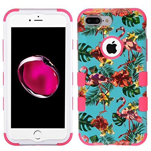 Insten Tuff Tropical Flamingo Dual Layer [Shock Absorbing] Protection Hybrid PC/TPU Rubber Case Cover Compatible with Apple iPhone 7 Plus/8 Plus, Multi-Color