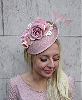 482896ec Blush Nude Pink Feather Flower Floral Disc Saucer Hat Fascinator Dusky Hair  6405