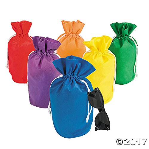 Fun Express Assorted Rainbow Drawstring Non-Woven Bags (1 Dozen)