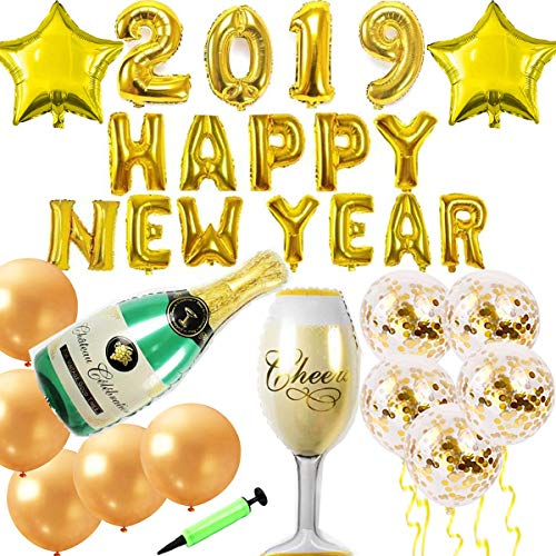 ZSNICE 2019 Happy New Year Christmas Party Decorations Banner Huge Size Champagne Goblet and Bottle Foil Balloons 2 Stars 10 Gold Latex Balloons Include 5 Confetti Ones Hand Pump10m Ribbon -