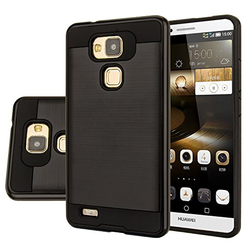 Huawei Ascend Mate 7 Case, Aomax® Anti-Shock Brushed Metal Texture Armor case, Dual Layer Protection TPU & PC Hybrid Non-slip Protective Case For Huawei Ascend Mate 7 (VLS Black)