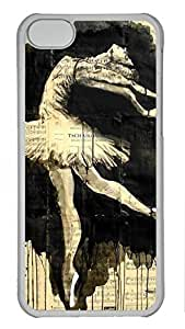 Artsy Transparent PC Case Shell for iPhone 5C,Hard Plastic Case Back Cover with Vintage Ballet Ink Art Printed