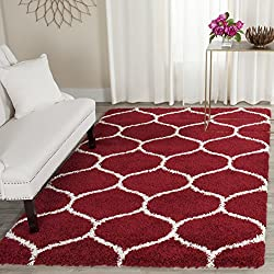 Safavieh Hudson Shag Collection SGH280R Red and Ivory Moroccan Ogee Plush Area Rug (4' x 6')