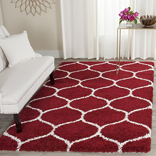 Safavieh Hudson Shag Collection SGH280R Red Ivory Moroccan Ogee Plush Square Area Rug (7' Square)