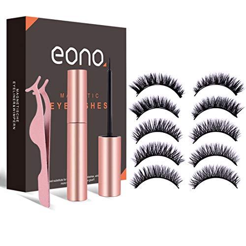 Eono by Amazon - Magnetisches Wimpern- und Eyeliner-Set, 5 Paar magnetische falsche Wimpern und wasserfester Eyeliner, Wiederverwendbares, Wasserdicht