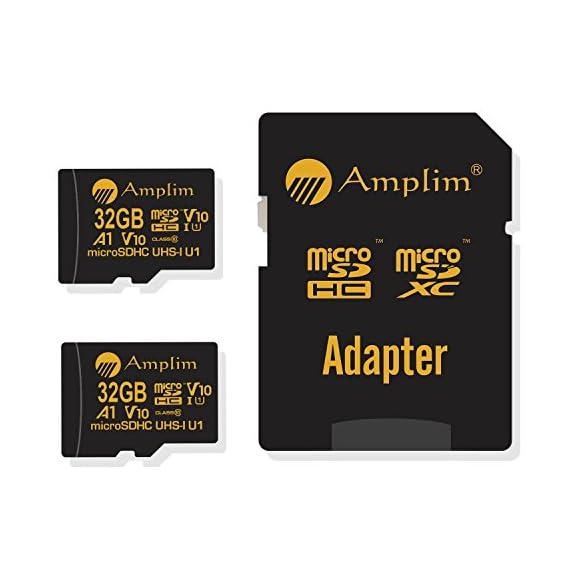 Amplim 2 Pack 32GB Micro SD SDHC TF Flash Memory Card Plus Adapter for Cell Phone, Tablet, Camera, Drone 5 CELL PHONE/TABLET COMPATIBILITY: Samsung Galaxy J2 Tab A Note8 Note 8 S8 S9 Plus S8+ Active S7 S5 S6 J7 V Max edge J5 J3 Emerge Perx E5 Prime Z4 Amp Express 2 Xcover 4 Tab S3 S2 E A Book 8.0 S2 9.7 View C7 C9 Pro A7 A5 A3 Eclipse Note5 On5 Amp 2 Halo; LG V30 V30+ V20 V10 X charge Q8 Q6 G6 G6+ G5 G4 X K8V venture Stylo 2 3 Plus Power Harmony K20 V Fortune Phoenix 3 G Pad X II F2; Amazon Fire HD, Microsoft Surface Pro 3 4; ASUS ZenFone V Live 4 Selfie Pro 3S 10 LTE Live AR 3 Zoom ZenPad Z10 Z8 Sony Xperia XZ Premium XA1 Plus Ultra XZ1 Compact L1 XZS XCompact XA Z5 M5; HTC One U11 life Desire 555 U Ultra Play 530 625 10 A9; Motorola Moto X4 G5S Plus Z Z2 Force Edition E4 Play G5 G4 Plus Bolt Droid tab MAXX 2 TURBO 2; Huawei Honor 9 7X 6C 8 Pro View 10 V10 Mate 10 Lite Y6 Pro P8 P9 Lite P10 Plus mini nova 2 Plus6A nova 2 Y7 Prime; OPPO F5 R11 F3 Plus; Xiaomi Redmi Y1 Lite Mi A1 Max 2 5 Plus Note 4X; ZTE Blade X Force Vantage Z Max XL 3 V8 Mini Lite Pro Axon M Blade Zpad Nokia 2 8 3 5 6 Alcatel IDOL 4 5 LED A7 A30 Tablet Fierce U5 HD Idol 5S A30 Plus A50 Pulsemix; BlackBerry KEYone PRIV; BLU Life One X2 Mini R1 Plus Tank Xtreme Dash L3 Vivo XL2; Razer Phone; nubia N2 N1 Lite;; ARCHOS 50 55 Graphite; FiGO Gravity; DuraForce PRO; Ellipsis 8 HD Gizmo Tab; Lumia 735 640 650 950 XL; AT&T Trek 2 HD G Pad X 8.3 8.0 F II 10.1 Lancet 626 626S; LG Exalt LTE Aristo K3 Fortune; Elipsis 10; ZTE Avid TRIO Overture Tempo X Prestige 2; Alcatel TRU FIERCE 4 ONETOUCH IDOL Revvl Plus