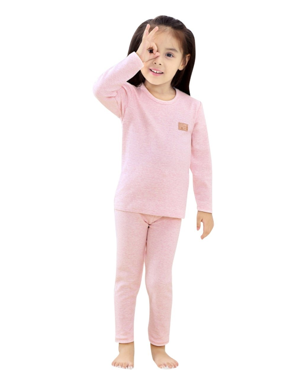 Menschwear Girl's Soft Thermal Underwear Set Striped Long Top and Bottom (120CM,Light-Pink)