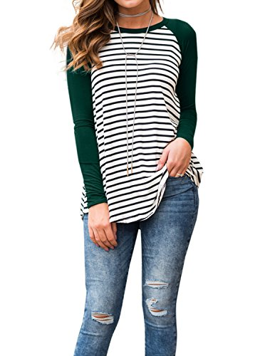 Adreamly Women's White and Black Striped Long Sleeve Baseball T Shirt Sport Tunic Tops Blackish Green 2X-Large
