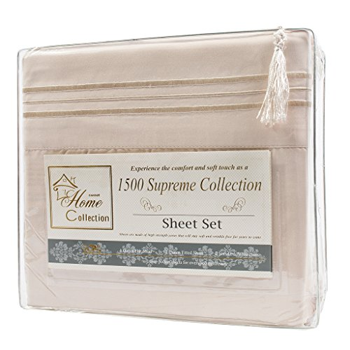 1500 Supreme Collection Extra Soft Queen Sheets Set, Beige - Luxury Bed Sheets Set With Deep Pocket Wrinkle Free Hypoallergenic Bedding, Over 40 Colors, Queen Size, Beige by Sweet Home Collection (Image #5)