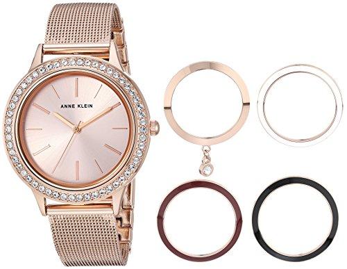Anne Klein Women's  Rose Gold-Tone Mesh Bracelet Watch and Interchangeable Bezel Set